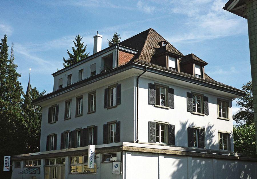 Wegbeschreibung zum Verlag: Domizil des Quaternio Verlags Luzern (Rückseite, Taubenhausstrasse)