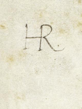 Pariser Alexanderroman, Monogramm König Heinrichs VIII. von England auf dem Vorsatzblatt
