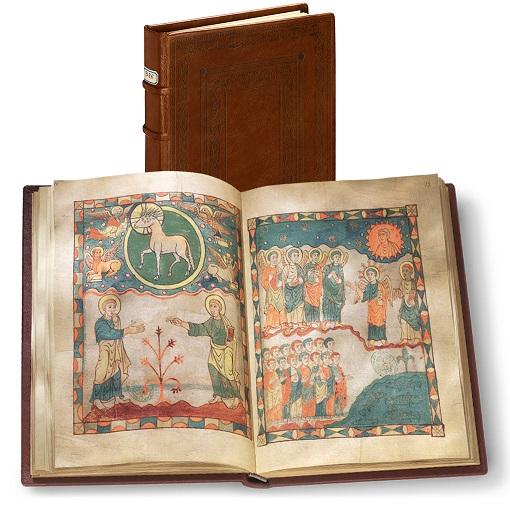 Apokalypse von Cambrai, Faksimile-Edition, Band stehend und aufgeschlagen