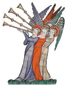 Corpus-Christi-Apokalypse, fol. 16v (Detail), Bläser-Engel - Illustration Presse- und Medienservice