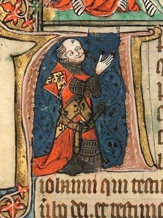Corpus-Christi-Apokalypse, Darstellung des Stifters (Henry oder John de Cobdam) auf fol. 1r