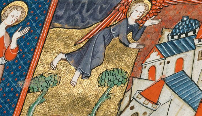 Corpus-Christi-Apokalypse, fol. 46r, Goldziselierung und Patinierung