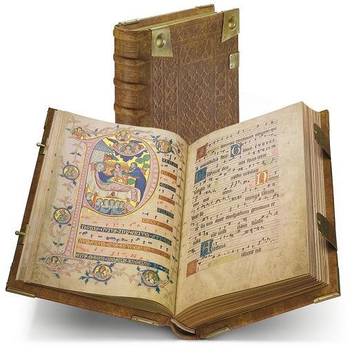 Codex Gisle, Faksimile-Edition, Band stehend und aufgeschlagen