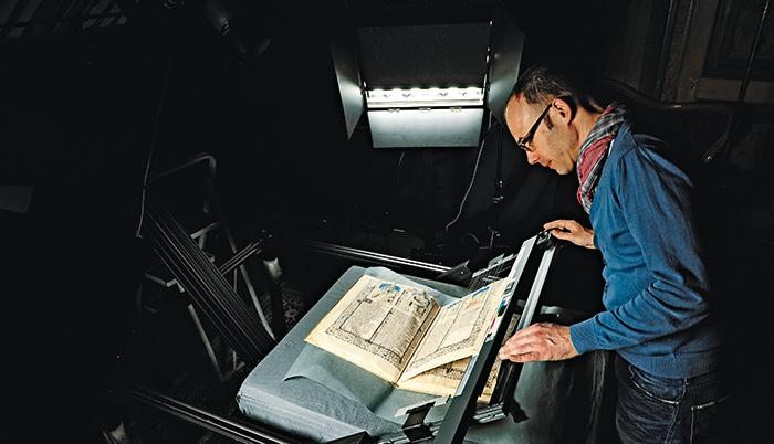 Heilsspiegel aus Kloster Einsiedeln, Aufnahme des Originals in der Stiftsbibliothek