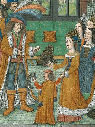 Philipp der Schöne mit seinen Eltern in der Bilderchronik, fol. 15r