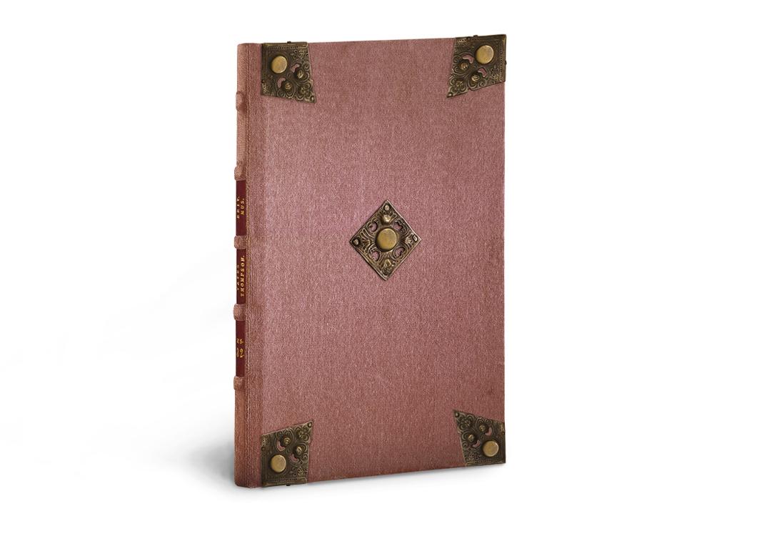 Flämische Bilderchronik Philipps des Schönen, Samteinband mit Zierecken und Medaillons