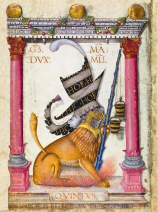 Nennung des Auftraggebers Galeazzo Maria Sforza, Herzog von Mailand, im Legendarium, fol. 2v