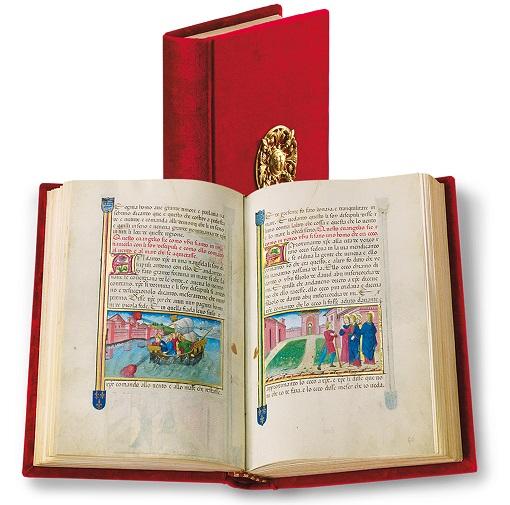 Legendarium der Sforza, Faksimile-Edition, Band stehend und aufgeschlagen