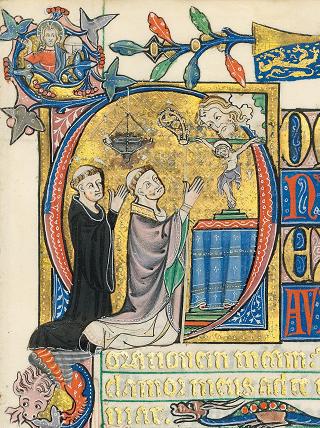Peterborough-Psalter, fol. 65r, Darstellung von Geoffrey of Crowland, Abt von Peterborough, als Empfänger der Handschrift