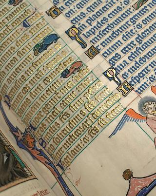 Peterborough-Psalter, erhabene Goldschrift