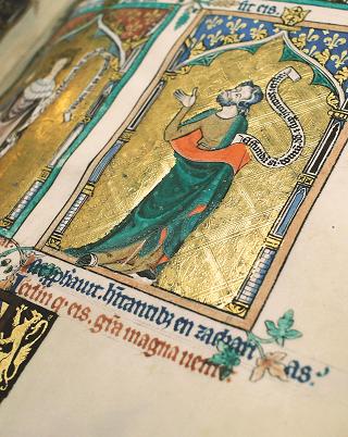 Peterborough-Psalter, Goldhintergrund mit feinster Ziselierung