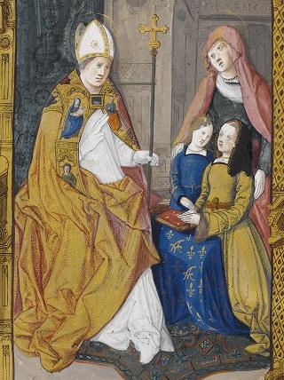 Fibel der Claude de France, Darstellung von Anne de Bretagne, betend zum heiligen Claudius, auf fol. 2v (p. 1)