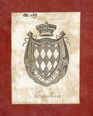 Fibel der Claude de France, Exlibris des siebenten Viscounts Fitzwilliam auf dem Spiegel des Vorderdeckels