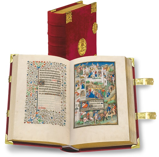 Sobieski-Stundenbuch, Faksimile-Edition, Band stehend und aufgeschlagen