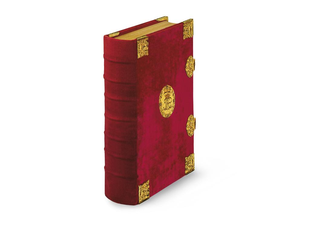 Sobieski-Stundenbuch, Samteinband mit goldenen Medaillons, Zierecken und Schließen