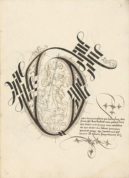 Kalligraphiebuch der Maria von Burgund, fol. 7r (Buchstabe G mit Drachenkampf des heiligen Georg)