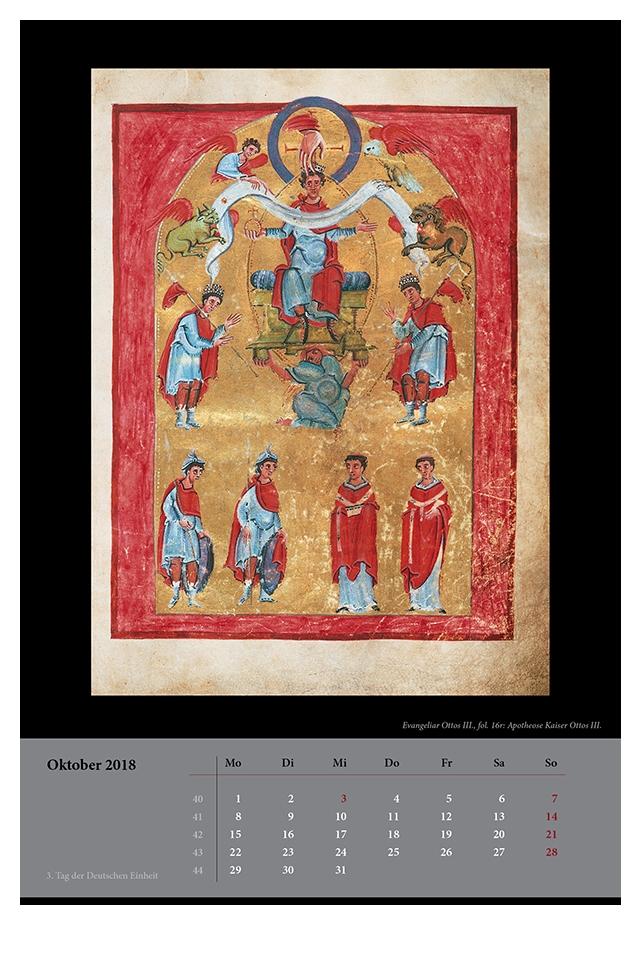 Wandkalender für 2018, Monatsblatt Oktober