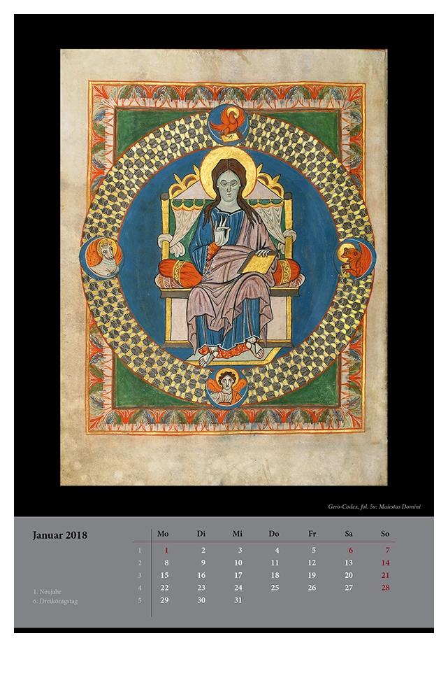 Wandkalender für 2018, Monatsblatt Januar