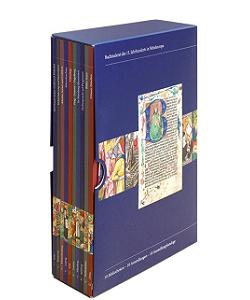 """Katalogschuber """"Meisterwerke der Buchmalerei des 15. Jahrhunderts in Mitteleuropa"""" - Kataloge aus dem Quaternio Verlag Luzern"""