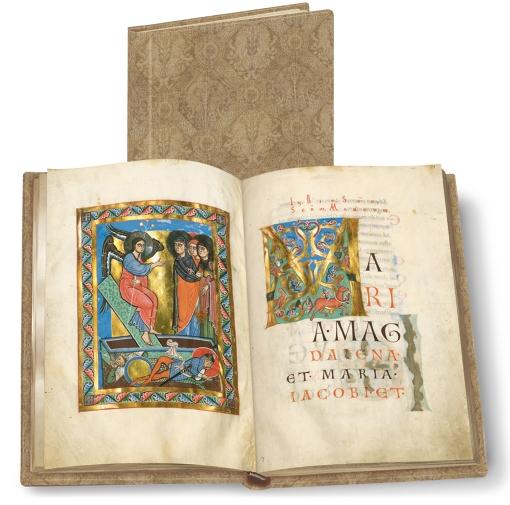 Passauer Evangelistar, Faksimile-Edition, Band stehend und aufgeschlagen