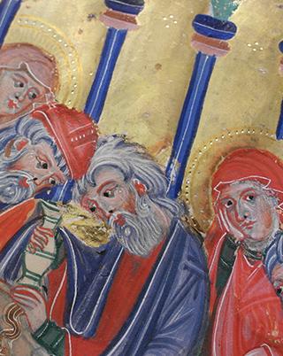 Breslauer Psalter, fol. 99r (Detail): Gold-auf-Gold-Malerei und Punkt-Punzierungen