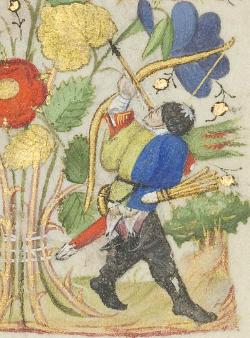 Bogenschütze im Stundenbuch der Margarete von Orléans, fol. 167r