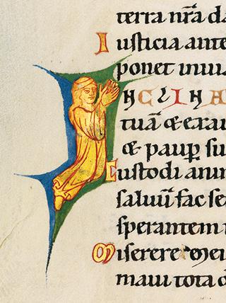 Bamberger Psalter, fol. 99v (I-Initiale als Beginn von Psalm 86: betende Frau)