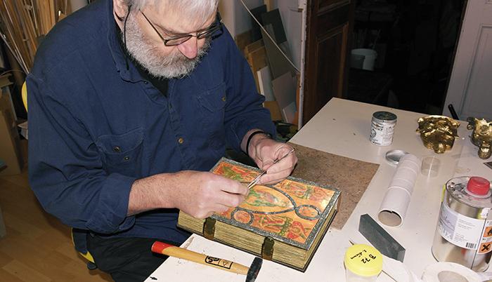 Bamberger Psalter, Arbeiten am faksimilierten Hornplatteneinband