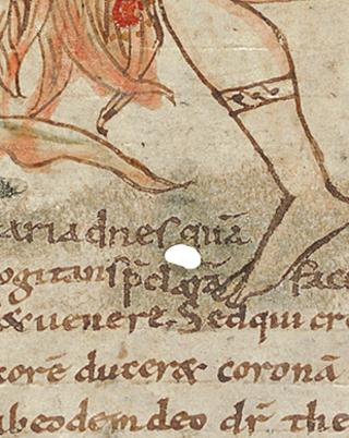 Sternbilder der Antike, Loch im Pergament auf fol. 13v