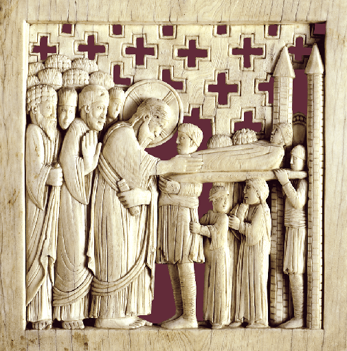 Schätze der Reichenauer Buchmalerei, Replikat der Magdeburger Elfenbeintafel mit der Auferweckung des Jünglings zu Nain als Schmuck der Faksimile-Kassette