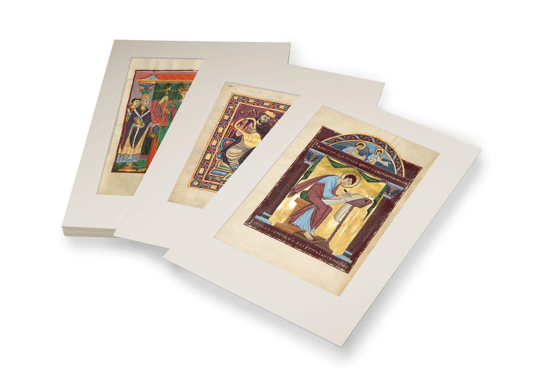 Schätze der Reichenauer Buchmalerei, 10 Faksimileblätter jeweils im edlen Schrägschnitt-Passepartout