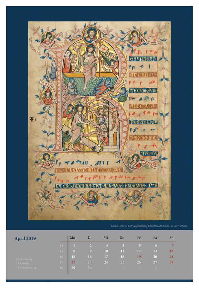 Wandkalender für 2019, Monatsblatt April