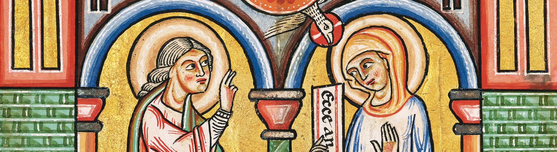 Stammheimer Missale, fol. 11v: Mariä Verkündigung (Detail)