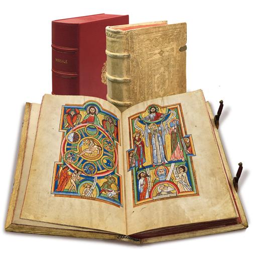 Stammheimer Missale, Faksimile-Edition, Band stehend und aufgeschlagen