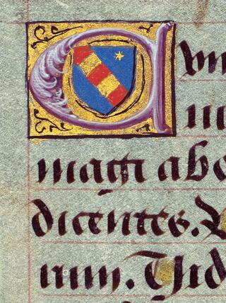 Briçonnet-Stundenbuch, fol. 10v: Initiale mit dem Wappen der Familie Briçonnet