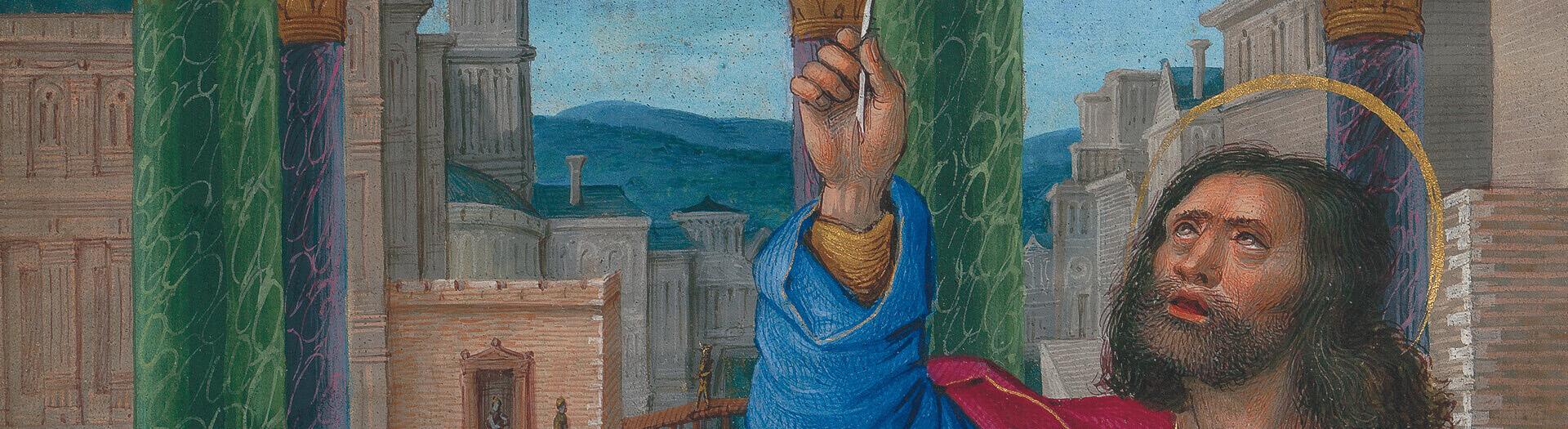 Briçonnet-Stundenbuch, fol. 11v: Evangelist Markus (Detail)
