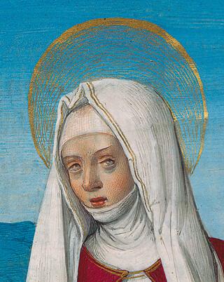 Briçonnet-Stundenbuch, fol. 129r (Detail): Nimbus der heiligen Veronika mit Pinselgold