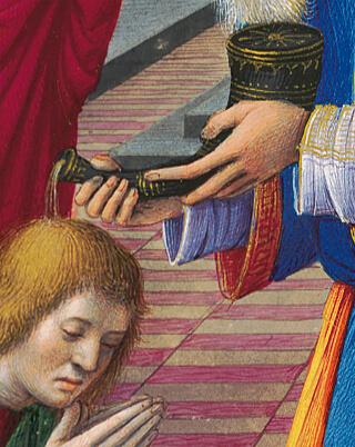 Briçonnet-Stundenbuch, fol. 69v (Detail): Goldhöhungen auf dem Salböl-Horn