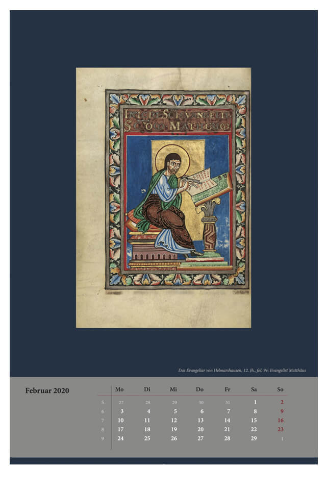 Wandkalender für 2020, Monatsblatt Februar