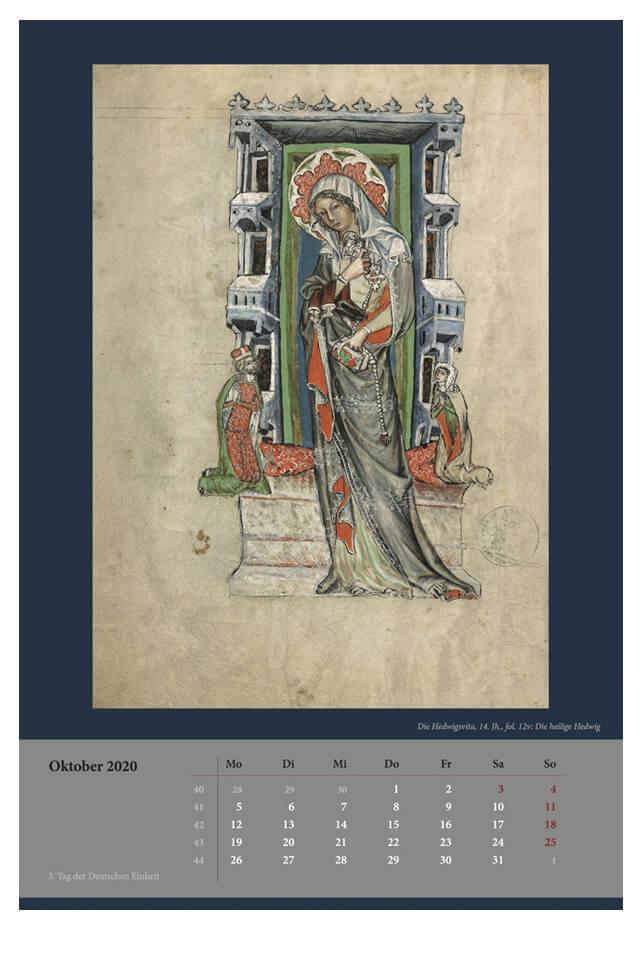 Wandkalender für 2020, Monatsblatt Oktober